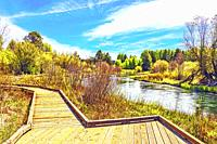 Boardwalk at the Wood River day use area in southern Oregon.