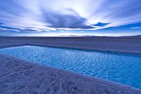 Landscape at sunset in Salinas Grandes in the province of Jujuy, Argentina, South America, America.