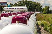 Shelbyville, Michigan - Propane tanks stored at a propane supplier in rural Michigan.