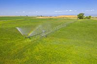 Gilcrest, Colorado - A center pivot irrigation system in eastern Colorado's Weld County. The area gets only 15 inches of rain per year, so water for i...