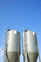 Close-up of metal tanks in a farm in Spain.