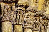Detail of Romanesque Portico. . Church of St. Miguel. Estella. (Navarra) Spain.