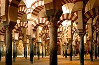 The Abderramán Hall. . The Mosque. . Cordoba. Spain.