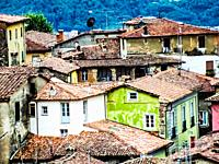 Skyline view of Barga a medieval hilltop town in Tuscany, Italy, Europe. Garfagnana, Tuscany, Italy, Europe.