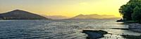 Panorama of Lake Maggiore on a morning summer sunrise.