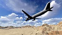 White passenger plane flying in the blue sky above the mountains made in 3d software.