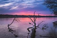 Sunset over Vistula River in Warsaw, Poland.
