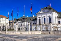 Grassalkovich Palace - the residence of the president of Slovakia located on the Hodzovo Square in Bratislava, Slovakia.