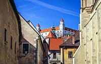 Bratislava Castle and fragemnt of Clarissine Church on the right side on the Old Town in Bratislava, Slovakia.