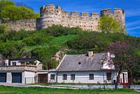 Castle walls in Devin, borough of Bratislava, one of the oldest castles in Slovakia.