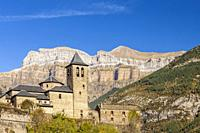 Torla and the mountains of the National Park of Ordesa and Monte Perdido, Huesca, Spain.