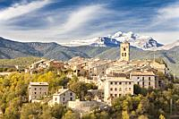 Ainsa village and the mountains of the National Park of Ordesa and Monte Perdido, Huesca, Spain.