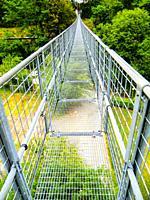 Ponte Sospeso, made in 1920 by Vincenzo Douglas Scotti (1877 - 1937), 212 meter long, the longest pedestrian suspended bridge in the world, San Marcel...