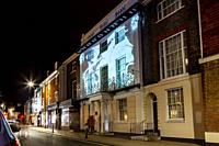 Lewes High Street During The Lewes Light Festival, Lewes, East Sussex, UK.