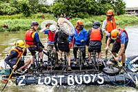 Local People Take Part In The Annual â. . Ousedayâ. . Raft Race, Paddling On Home Made Rafts In Aid Of Charity From Lewes To Newhaven, River Ouse, Lew...