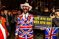 Brexit supporters celebrate Great Britain leaving the European Union in Parliament Square, London, UK. The event was organised by the cross party grou...