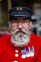 A Portrait Of A Chelsea Pensioner At The Pearly Kings and Queens Annual Harvest Festival Held At The Guildhall Yard, London, England.