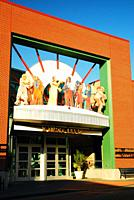 The facade of the Museums at 18th and Vine in Kansas City celebrate the rich African American heritage in the city.
