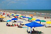 Umbrellas of all shapes and colors line the sands at Myrtle Beach, South Carolina.