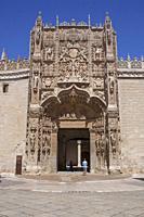 Valladolid, Spain - July 18th, 2020: Colegio de San Gregorio main facade. Isabelline style building now is housing the Museo Nacional de Escultura mus...