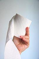 Hand holding a roll of toilet paper.