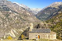 Church of Sant Quirc de Durro, Valley of Boi, Lleida, Spain.
