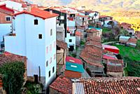 View of the houses of Casas del Castañar, Caceres, Spain