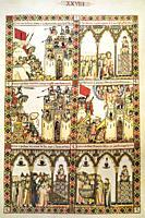 War scenes at folio 228. Narrative vignette from The Cantigas de Santa Maria written during the reign of Alfonso X of Castile El Sabio. El Escorial Li...