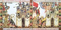 Christian castle been sieged by Moors. Fol. 228. Narrative vignette from The Cantigas de Santa Maria written during the reign of Alfonso X of Castile ...