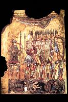 Crusaders infantry soldiers. 13th Century manuscript from National Library of France, Paris.