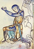 Kneeling crusader knight. 13th century illustration from Westminster Psalter. British Library.