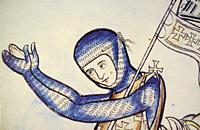 Kneeling crusader knight. 13th century illustration from Westminster Psalter. Detail. British Library.
