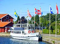 "The old passenger boat """"Kung Sverker"""" on the Gota Canal at the harbor in Motala, Ostergotland, Sweden, Scandinavia. The Gota Canal was constructed i..."