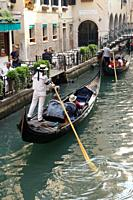 Venice (Italy). Gondolier navigating one of the canals of the city of Venice.