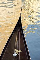 Venice (Italy). Detail of the bow of a Gondola in the city of Venice.