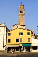 Venice (Italy). Bell tower of the church of San Maurizio in the city of Venice.