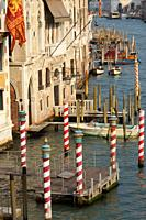 Venice (Italy). Docking point on the Grand Canal in the city of Venice.