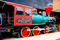Chattanooga Choo Choo steam locomotive made famous by the song recorded by Glenn Miller at the old railway station in Chattanooga Tennessee USA.