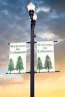 Welcome to Lebanon banners drape the street lights in this downtown city area in Tennessee.