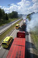 Highway resurfacing in progress, Lappeenranta Finland.