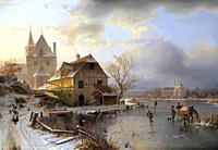 Duntze Johannes Bertholomaus - a Lakeside Village with Skaters in Winter - German School - 19th and Early 20th Century.