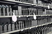 Black supermarket shelves and showcases with cosmetics products, bottles, tubes, boxes, personal care products. 3d illustration.