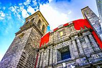 Facade Santa Domingo Church Chapel of the Rosary Puebla Mexico. Built in 1600s.