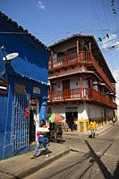 View to the colonial houses at the historic center, Cartagena de Indias, Bolivar, Colombia, South America.