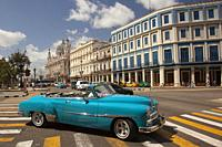 Old American car used as taxi at the street in central Havana district, Havana, La Habana, Cuba, West Indies, Central America
