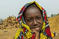 Portrait of a local girl on the bank of the Niger River in Segou, a city in the center of Mali, West Africa.