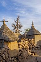 Mudbrick granaries in the Djiguibombo Dogon village in the Bandiagara area in the Dogon country in Mali, West Africa.