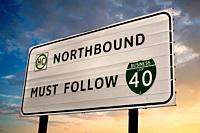 Northbound Must Follow Business I-40 sign just outside Amarillo Texas.