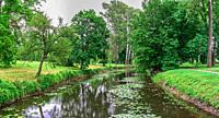 Bila Tserkva, Ukraine 06. 20. 2020. Alexandria park in Bila Tserkva, one of the most beautiful and famous arboretums in Ukraine, on a cloudy summer da...