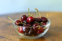 Tilburg, Netherlands. Fresh Cherries, bought at a Rural Farmer´s market stand alongside an agricultural territory road.